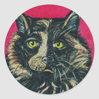 Calico Cat Painting by Ania M Milo Round Stickers