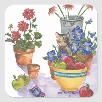 """Calico Cat Pansies Apples Watercolor """"Paloma"""" Square Sticker"""