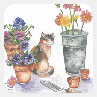 "Calico Cat Pansies Daisies Watercolor ""Don Juan"" Square Sticker"