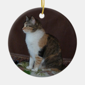 Calico Cat Round Ceramic Decoration