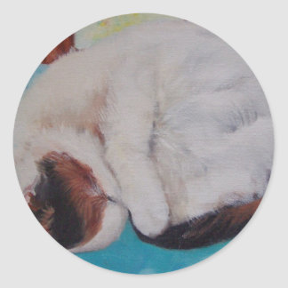 calico cat sleeping painting by Gwen Billips Round Sticker
