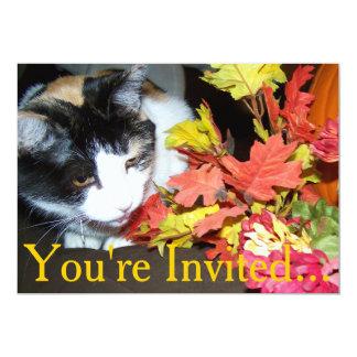 Calico Cat Thanksgiving Intitation For Dinner 13 Cm X 18 Cm Invitation Card