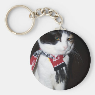 Calico Cat Wearing Scarf Keychain