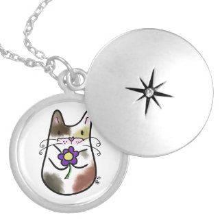 Calico Cat with Flower Necklace