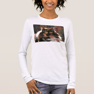 Calico Cat With Green Eyes Long Sleeve T-Shirt