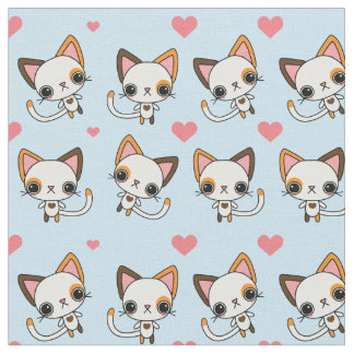 Calico Cat with Pink Hearts & Blue Background Fabric