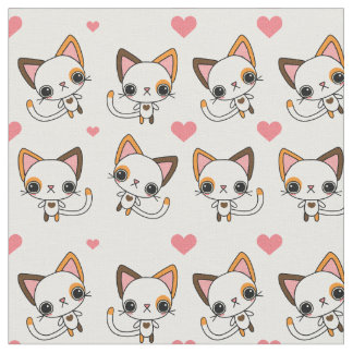 Calico Cat with Pink Hearts Fabric