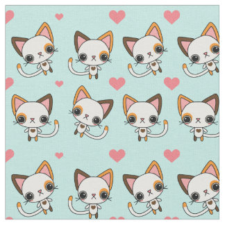 Calico Cat with Pink Hearts & Mint Background Fabric