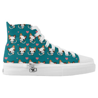 Calico Cat with Pink Hearts Printed Shoes