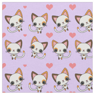 Calico Cat with Pink Hearts & Purple Background Fabric
