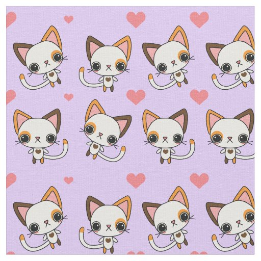 Calico Cat with Pink Hearts & Purple Background