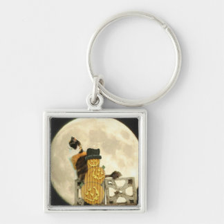 Calico Cat with Pumpkin Scarecrow with Full Moon Silver-Colored Square Key Ring