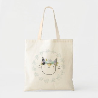 Calico Cat with Wildflowers Budget Tote Bag