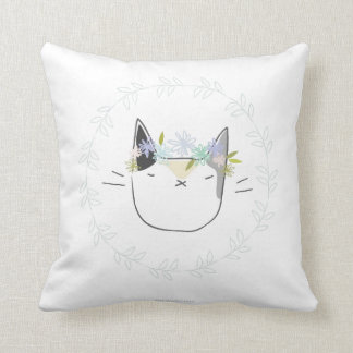 Calico Cat with Wildflowers Throw Pillow