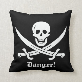 Calico Jack Pirate Flag Skull and Cutlass Warning Throw Pillow