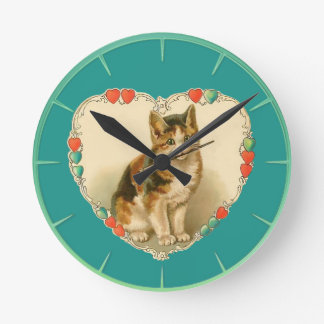 Calico Kitten in Heart Round Clock