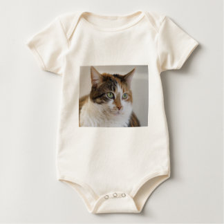 Calico tabby cat face baby bodysuit