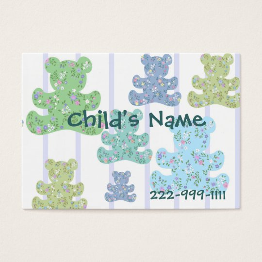 Calico Teddy Bears Children's Calling Card