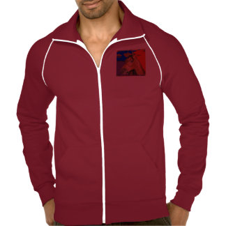 Calif  Fleece Track Jacket HORSE Cranberry White