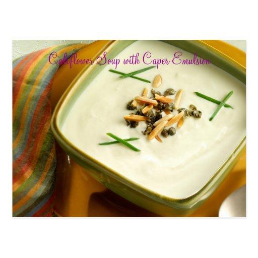 Califlower Soup with Raisin Caper Emulsion