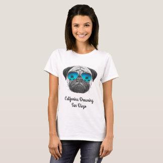 Califorina Dreaming Pug San Diego T-Shirt