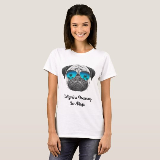 Califorina Dreaming Pug San Diego T-Shirt