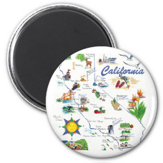 Californai Map round magnet