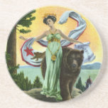 California Admission Day Festival Woman with Bear Beverage Coaster
