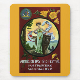 California Admission Day Festival Woman with Bear Mouse Pad