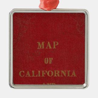 California and Nevada 3 Silver-Colored Square Decoration