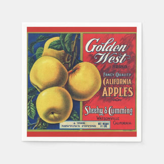 California Apple Crate Label Disposable Serviette
