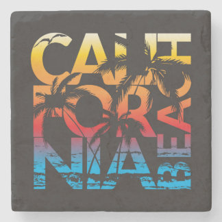 California Beach Poster Stone Coaster