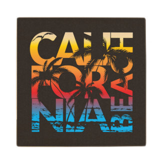 California Beach Poster Wood Coaster
