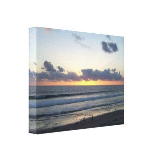 California Beach Sunset Wrapped Canvas Canvas Print