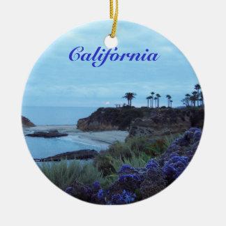 California Beach View Round Ceramic Decoration