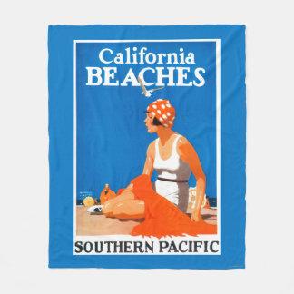 California Beaches Promotional Poster Fleece Blanket
