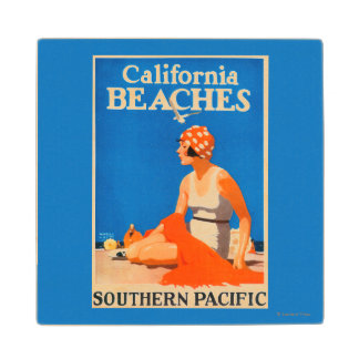 California Beaches Promotional Poster Wood Coaster