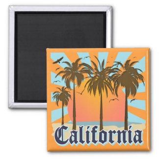 California Beaches Sunset Square Magnet