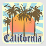 California Beaches Sunset Square Stickers