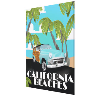 California Beaches Vacation print Stretched Canvas Print