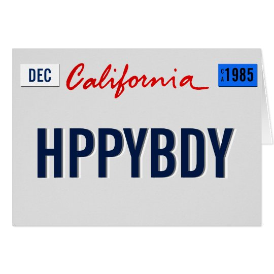 California Birthday Plate Personalise Card