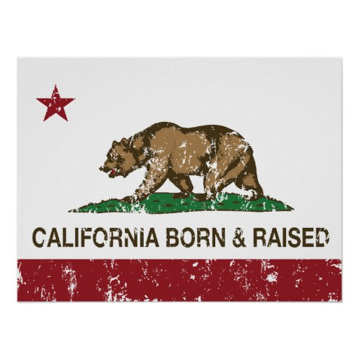 California Born and Raised Distressed Poster