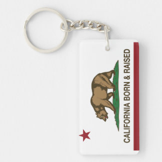 California Born and Raised Rectangle Acrylic Key Chains