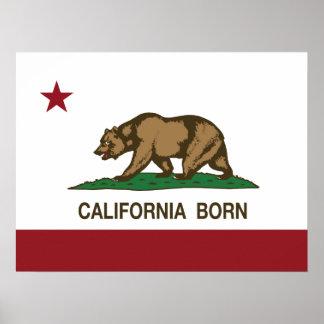 California Born Bear Flag Print