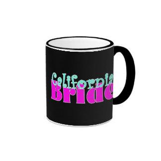 California Bride Black Background Ringer Mug