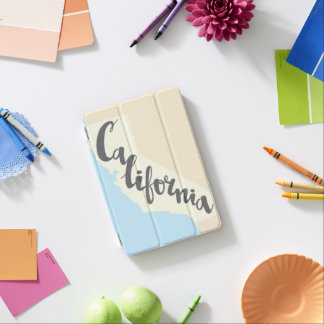 California Brush Lettering With Silhouette Map iPad Mini Cover