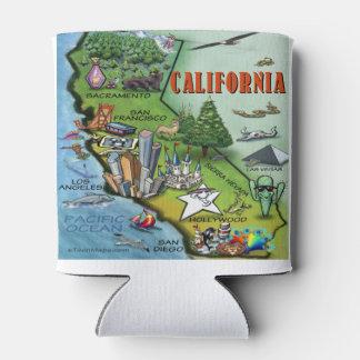 California Cartoon Map Can Cooler