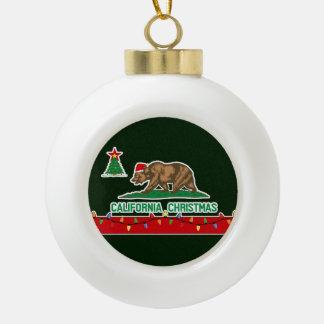 California Christmas Ceramic Ball Ornament