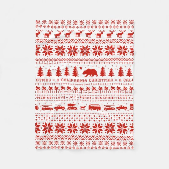 California Christmas Holiday Pattern Red on White Fleece