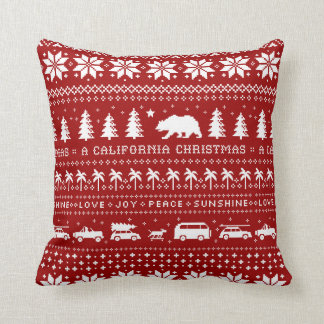California Christmas Holiday Pattern White on Red Cushion